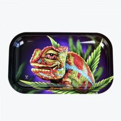 Vassoio in metallo per rollare con disegno di chameleon