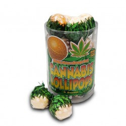 orange and cannabis flavour lollipops with bubblegum centre in wholesale from Dr Greenlove