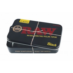 raw black tin box to keep rolling appers, lighters, filters etc