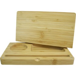 bamboo rolling box with magnetic closure. Perfect for storing away  herbs and smoking articles, and for using as a rolling surf