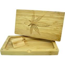 Scatola in Bamboo per rollare. Disegno di foglia di erba inciso sul coperchio