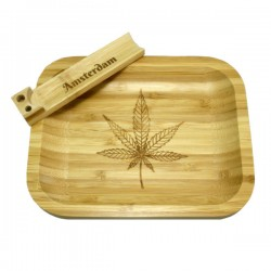 bamboo small rolling tray with bamboo joint holder