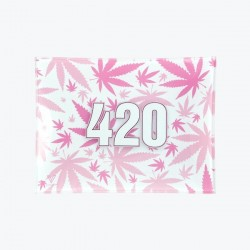 V-Syndiacte glass rolling tray with 420 pink design