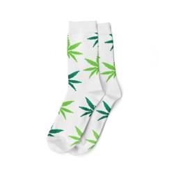 Calzini con fantasie di foglie di cannabis in colori verde e bianco, in vendita all'ingrosso