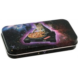 v-syndicate metal tin box with DJ cat design. Perfect for storing smoking accessories