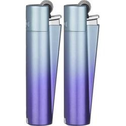 Scatola intera da 12 accendini clipper in metallo colore blu gradiente
