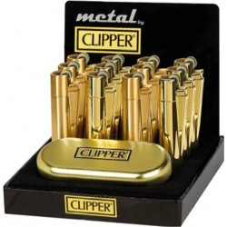 display box of 12 gold metal clipper lighters