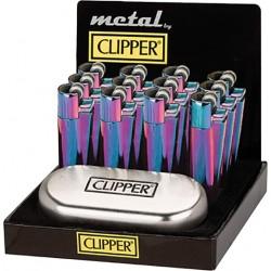 display da 12 accendini clipper arcobaleno in metallo