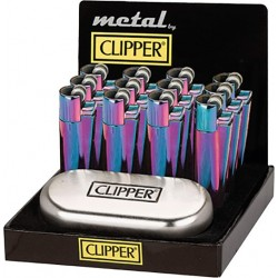 display of 12 large rainbow metal clipper lighters
