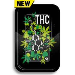 rolling tray with THC molecule design