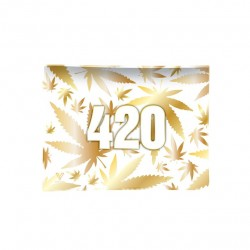 V-Syndicate glass rolling tray with 420 gold design. Gift box included
