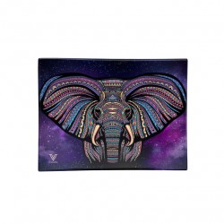 v-syndicate glass rolling tray with elephant design. Sold exclusively in wholesale to shops