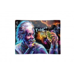 v-syndicate smokers glas rolling tray with einstein black hole design