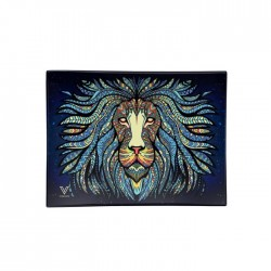 tribal lion design glass tray by v-syndicate