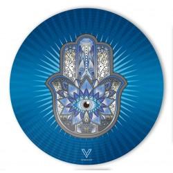 v-syndicate slikks dab mat with blue hamsa design