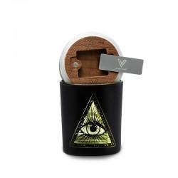V-Syndicate SmartStash illuminati yellow medium. Stash jar with grinder card and humidifier