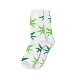white and green cannabis pattern socks for wholesale
