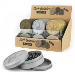 gold, silver and bronze plastic herb grinders with embossed cannabis leaf. For wholesale