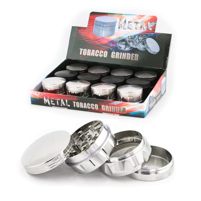 easy grip metal herb grinder 43mm with 4 parts and polinator. Complete display for wholesale only