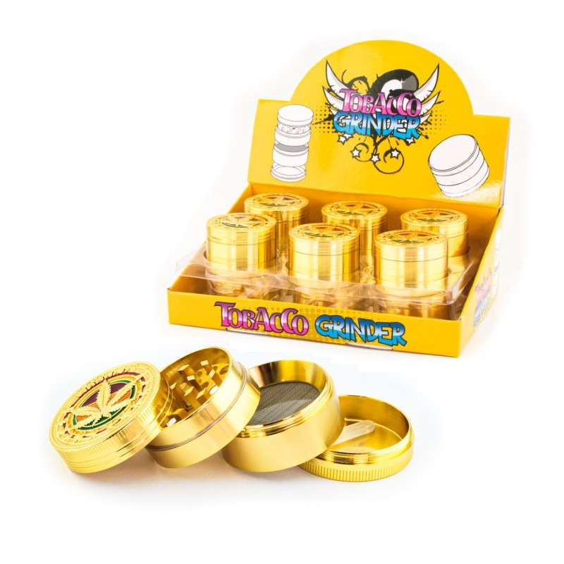 metal gold herb grinders with rasta leaf for wholesale to resellers of cbd