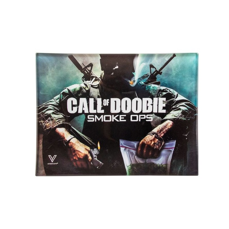 call of doobie small glass rolling tray for wholesale growshops