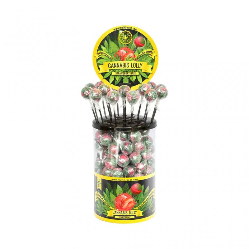 Cannabis strawberry haze flavour lollipops in a retail display of 100 units. For wholeale only
