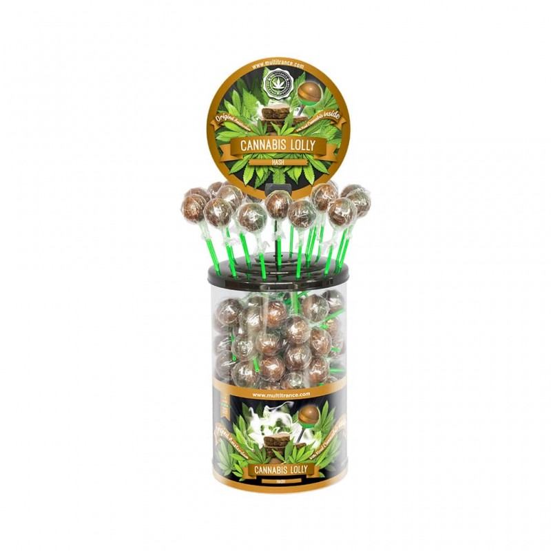Cannabis Hash lollipops wholesale display of 100 by Multitrance Amsterdam