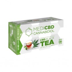 MEdiCBD black tea with hemp extract. Box with 20 teabags for wholesale to hemp shops