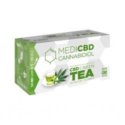 Medi CBD green tea with hemp extracts. 20 teabags in a box for wholesale