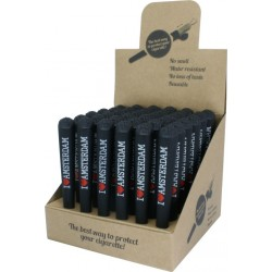 i love amsterdam plastic joint holder tube in a retail display for wholesale