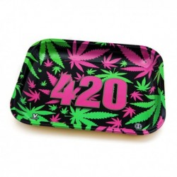 Tray 420 pink/green leaf -...