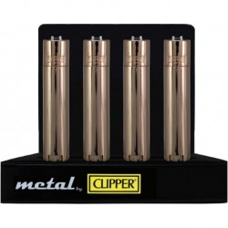 Display box of 12 Rose gold metal clipper lighters